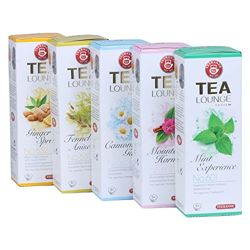Teekanne Tealounge Kapseln - Kräutertee Sortiment mit 5 Sorten (40 Kapseln)