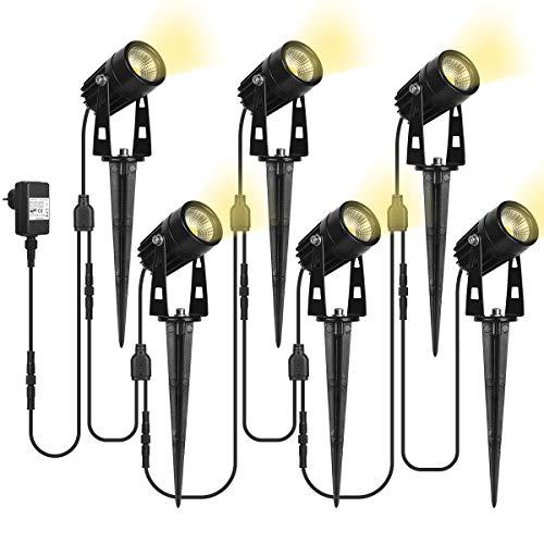 SanGlory 6 x 3W Faretti da Giardino 12V, Fari LED da Esterno con Spina e Adattatore, Faretto da Esterno IP65, Lampade da Giardino Bianco Caldo, Luci da Giardino (Set di 6 Fari)