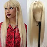 QD-Tizer #613 Blonde Long Straight Synthetic Hair Wigs with Bangs Women's Costume Wig Heat Resistant Hair Replacement Wig