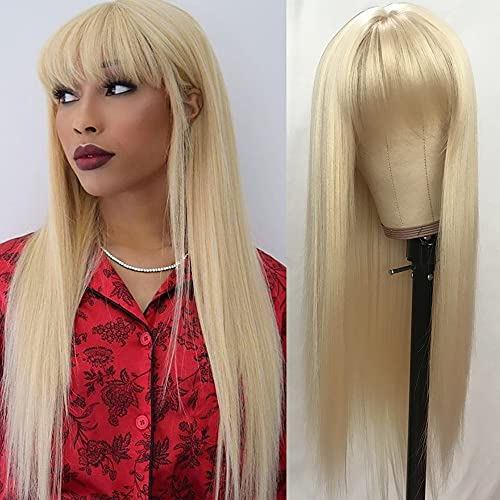 QD-Tizer #613 Blonde Long Straight Synthetic Hair Wigs with Bangs Women s Costume Wig Heat Resistant Hair Replacement Wig