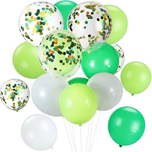 Tatuo 90 Piezas Globos de Látex de 12 Pulgadas Globos con Confeti de Fiesta para Materiales de Fiesta de Cumpleaños Boda (Blanco Verde)