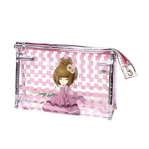 Portable Femme Coque de sac Maquillage étanche en PVC rose rose