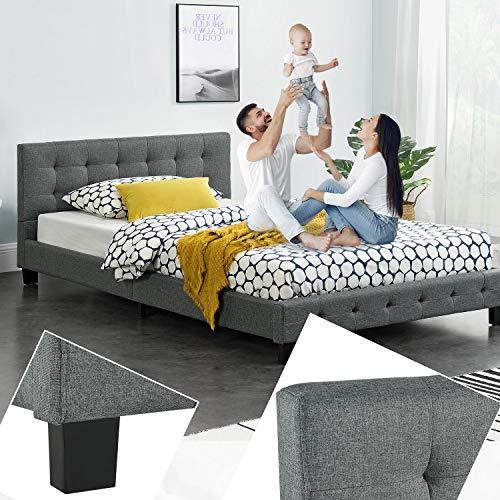 ArtLife Polsterbett Manresa 120 x 200 cm - Bett mit Lattenrost und Kopfteil - Zeitloses modernes Design, Grau