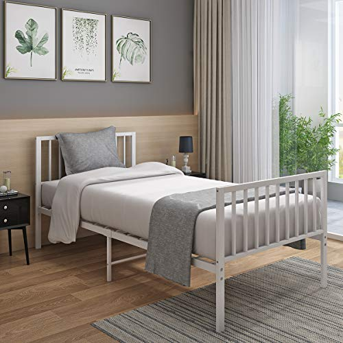 Panana 4FT Metal Bed Frame Modern Design Bed Frame Platform with Headboard and Footboard for Adults Teenagers Bedroom (White)
