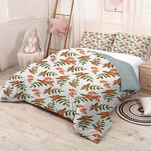HELLOLEON Rowan Extra Large Quilt Cover Botanical Foliage Nature Pattern with Berries on Soft Pink Dots Can be Used as a Quilt Cover-Lightweight (Queen) Dark Green Orange Pale Pink