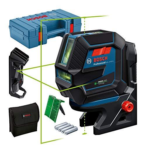Bosch Professional Linienlaser GCL 2-50 G (grüner Laser, Halterung RM 10, Deckenklammer, sichtbarer Arbeitsbereich: bis 15 m, 4x AA-Batterie, in Kartonschachtel)