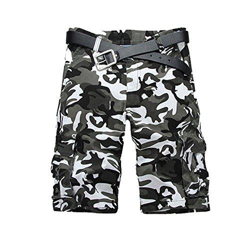 Just No Logo Men's Cotton Loose Fit Cargo Camo Shorts(32,Black&White Camo)