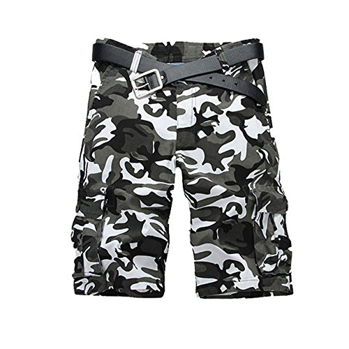 Just No Logo Men's Cotton Loose Fit Cargo Camo Shorts(32,Black&White Camo)