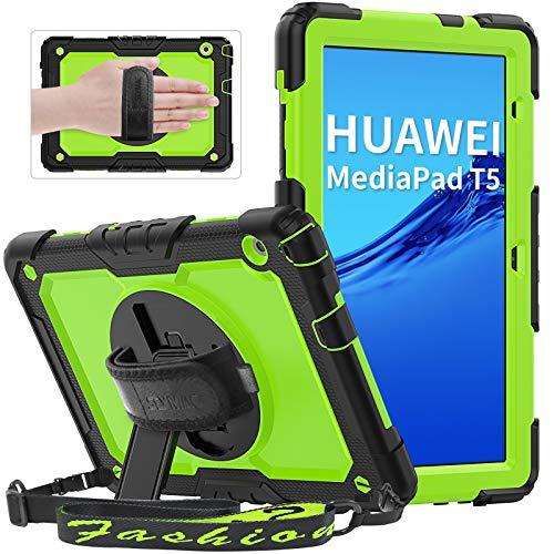 """SEYMAC Shockproof Hülle für Huawei MediaPad T5 10.1 """"2018, robustes Kidsproof-Gehäuse mit um 360 Grad drehbarem Handschlaufe, Ständer, Schultergurt, Bildschirmschutz für Huawei MediaPad T5 10,1 Zoll, Grün"""