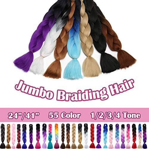 SEGO 24 Inch Ombre Jumbo Braiding Hair Jumbo Braid Hair Extensions Long Jumbo Braids for Box Braids Crochet Hair High Temperature Fiber 3 Tone Colored 1 Bundle Black/Purple Red/Dark Blue