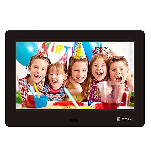 Arzopa Advanced Digital Picture Photo Frame - HD 1024x600(16:9) IPS Widescreen Eletronic Picture Frame Advertising Player with Calendar/Clock/Remote Control Black 7 inch