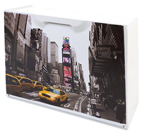 Art Plast Zapatero en Polipropileno Decorado Nueva York, Blanco, 51x17x41 cm