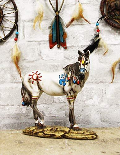 Ebros Equestrian Tribal Beauty Medicine Spirit Horse Hand Crafted Statue 8' High Native American Indian Symbols Sun Palm Feathers Stallion Animal Decor Sculpture