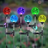 WNP Outdoor Solar Light Garden Stake Decoration,6 Pack Cracked Glass Ball Color-Changing Landscape Light,Color Glow Light Solar Powered,Yard Solar Led Light Outdoor Waterproof Decor Patio Path