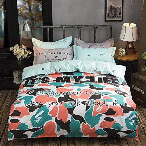 BEDSETAAA Bettwäscheset Creative Design Bedroom Mit Doppeltem Steppdecken-Kissenbezug, 180X220Cm
