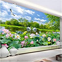 Xbwy 装飾壁画中国風の壁紙白鳥の湖蓮の池壁画リビングルームテレビソファ背景壁画-400X280Cm