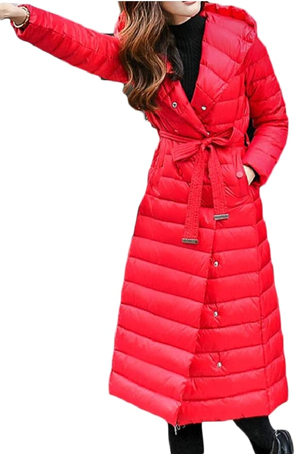 Keaac Women's Outdoor Double Breasted Coat Utral Light Hooded Long Down Jacket