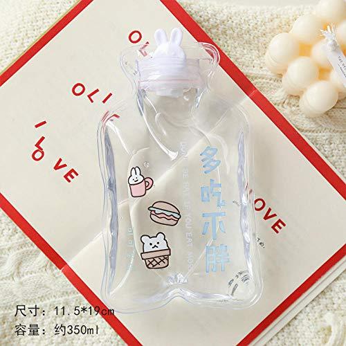 Inyección de botella de agua caliente mini estudiante pequeño calentador de manos portátil cálido palacio linda chica corazón transparente bolsa de agua caliente-Come más sin engordar