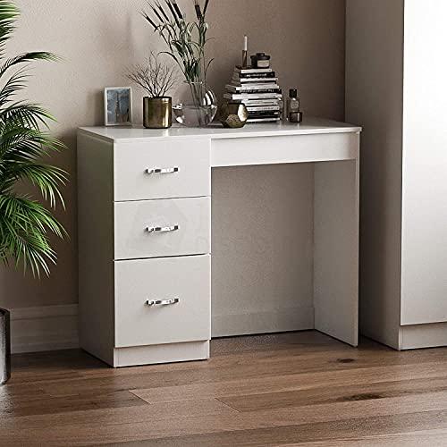 Vida Designs 3 Drawer Dressing Table Makeup Desk Riano Bedroom Furniture (White)