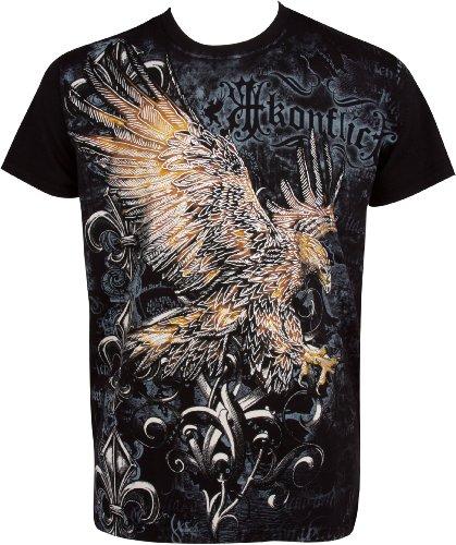 Sakkas 255T Clutching Eagle & Fleur De Lis - T-Shirt en Coton gaufré métallisé argenté - Noir/Moyen