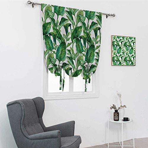 Hojas romanas para ventana, románticas Isla de vacaciones hawaianas, arboles de banano hawaianos, imagen de acuarela, color verde oscuro y verde bosque, 48 pulgadas x 64 pulgadas