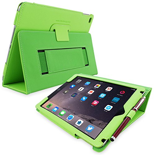 """Snugg iPad 9.7 (2018/2017) & iPad Air Case, Green Leather Smart Case Cover Apple iPad Air and New iPad 2017 9.7"""" Protective Flip Stand Cover with Auto Wake/Sleep"""