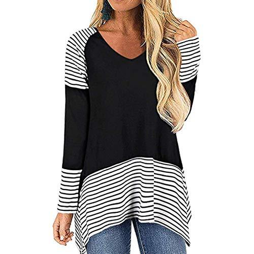 Why Choose NANTE Top Loose Women's Blouse Stripe Printing V Neck Long Sleeve T-Shirt Tunic Shirt Wom...