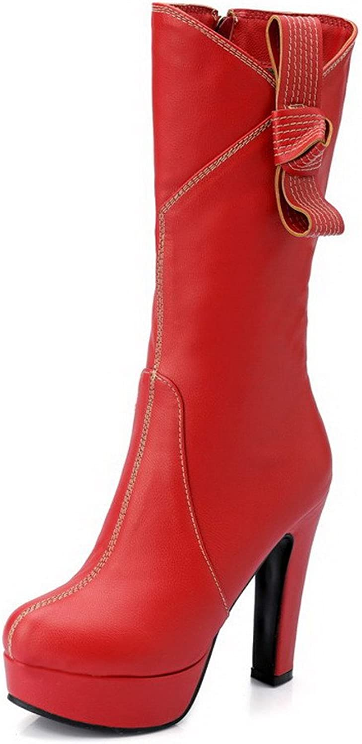 WeenFashion Women's Mid-top Zipper Soft Material High-Heels Round Closed Toe Boots