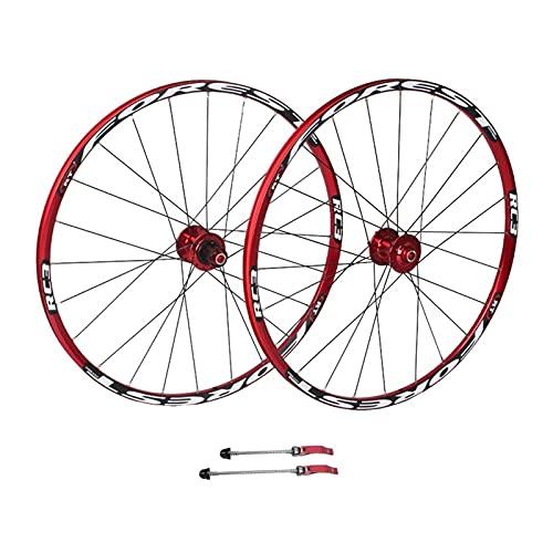 Cerchio bici 26/27. 5 pollici Wheelset da mountain bike, doppia parete a rilascio rapido Mtb. Cuscinetti sigillati a cerchio del disco Freno a disco 8 9 10 velocità rossa