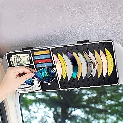 WARMQ Bling Car CD Case Holder, Vehicle Sun Visor Organizer for Cars with 10 DVD Storage Sleeves, Card Pockets, Pen Holder and Glasses Holder, Bling Car Accessory for Women
