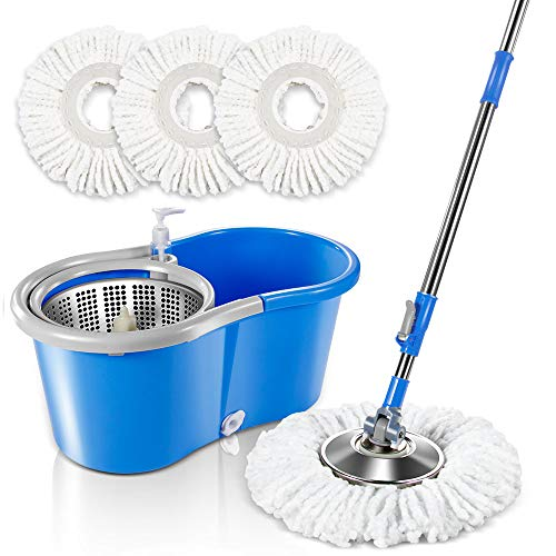 Masthome 5L Spin Mop Bucket System with 3 Microfiber Mop Heads Stainless Steel Mop Bucket with Detergent Dispenser For Floor Cleaning