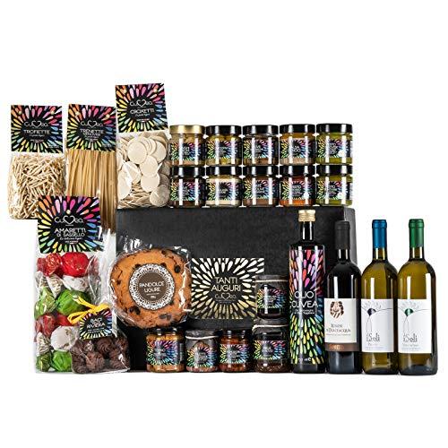 """Cuvea - Cesta gourmet regalo """"Lujo extra"""" – Lote gourmet regalo con Vino y 25 productos italianos artesanales de Liguria sin conservantes ni colorantes - Cesta gourmet para regalar"""