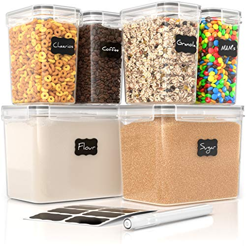 Simply Gourmet Airtight Food Storage Containers - Set of 6 Flour and Sugar Canisters for Pantry Storage and Organization - Marker & Labels Included