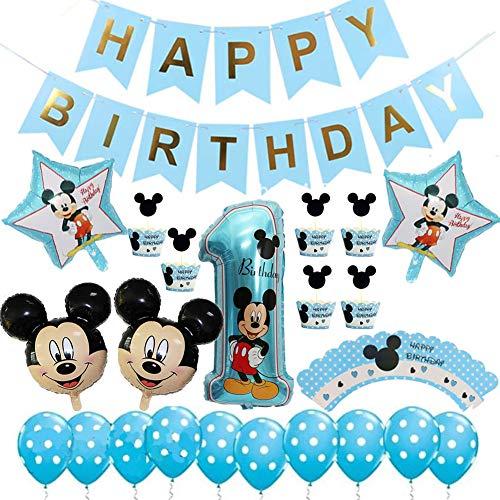 Décorations de Fête Mickey avec Ballons,Décorations 1 an d'Anniversaire Fournitures de Fête à...