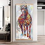 Wfmhra Trabajo de Pintura más Grande Original Caballo Corriente Pintura al óleo Arte Mural de Madera Mural de Desplazamiento Sala de Estar 50x100 cm sin Marco
