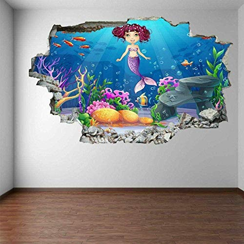 MXLYR Wandtattoo Cartoon Plant Fish Underwater Wall Art Stickers Mural Decals Kids