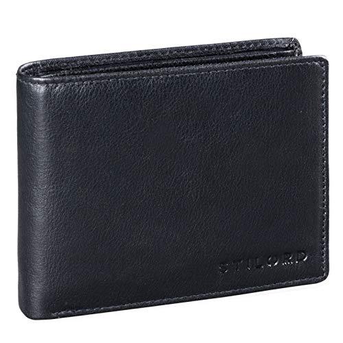 STILORD 'Guillermo' Billetera de Cuero RFID Hombre con Bloqueo RFID Vintage Monedero Monedas Cartera de Cuero Auténtico, Color:Negro