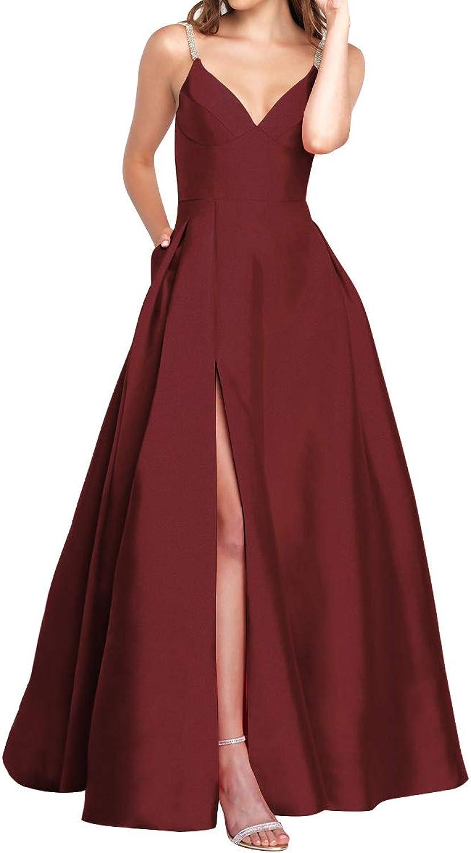 Homdor Beaded Prom Dresses Long Split ALine Spaghetti Strap V Neck Sequin Evening Gown