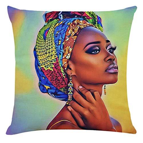 Youdong Femme Africaine Taies d'oreillers Housse de Coussin Decoration Coussin de canapé Lit Café Home Decor Taie d'oreiller Coussins Oreiller Couvre Housse d'oreiller Cadeau Saint Valentin 45x45cm