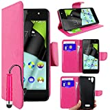 ebestStar - kompatibel mit Wiko Selfy 4G Hülle Kunstleder Wallet Case Handyhülle [PU Leder], Kartenfächern, Standfunktion + Mini Stift, Pink [: 141 x 68.4 x 7.7mm, 4.8'']