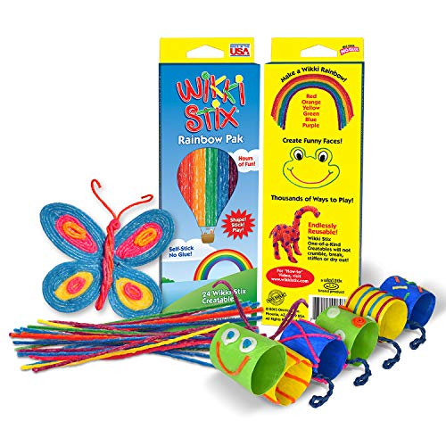Sensory Fidget Toy, Arts and Crafts for Kids Rainbow Pak, Non-Toxic, Waxed Yarn, 8 inch, Fidget Toy, Reusable Molding and Sculpting Sticks, American Made by Wikki Stix, 24 Pack