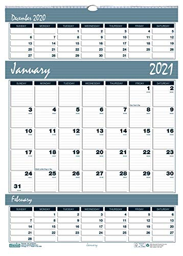 House of Doolittle 2021 Three-Month Wall Calendar, Bar Harbor, 12 x 17 Inches, January - December (HOD342-21)
