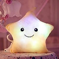 Cojín con luz LED Missley, diseño de estrella blanco