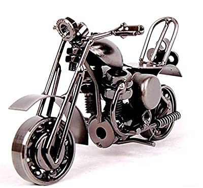 Vi.yo Handcrafted Iron Model Motorcycle Modern Ornaments for Home Office Decoration Collectible Art Sculpture for Motorcycle Lovers,Bronze Tone