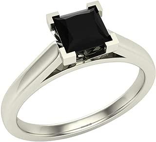 Princess cut Black Diamond Ring for women 0.42 Carat 14K Gold 4 Prong Solitaire Setting