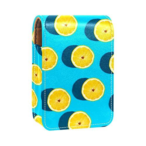 Estuche de lápiz labial de frutas de limón amarillo titular de lápiz labial exterior para monedero mini bolsa de lápiz labial de viaje bolsa cosmética con espejo para mujer toma hasta 3 lápiz labial
