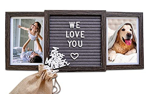 Customizable Picture Frame (Rustic Brown) with Genuine Felt Letter Board: Personalized Two Picture Frame for Mom, Dad, Family, Friends, Dogs, Grandpa, Pets