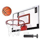 ZeHuoGe 18x12 in Indoor Mini Basketball Hoop Clear Shatterproof Polycarbonate Backboard Pro-Grade Spring-Action Breakaway Steel Rim US Delivery
