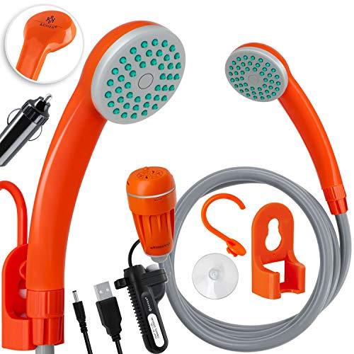 KESSER® Campingdusche mit Akku Tauchpumpe Handbrause 2200mAh-Lithium-Akku, USB-Ladekabel, für Camping Garten - Auto - Outdoor, Hundedusche, Autoreinigung, 12V Pumpe, Orange