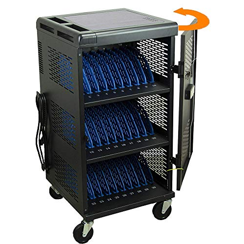 30-Unit Heavy Duty Fully Assembled Charging Cart with Cord Management - Electric Keypad Lock & Automatic Flush Bolts - Fits Laptops & Tablets up to...